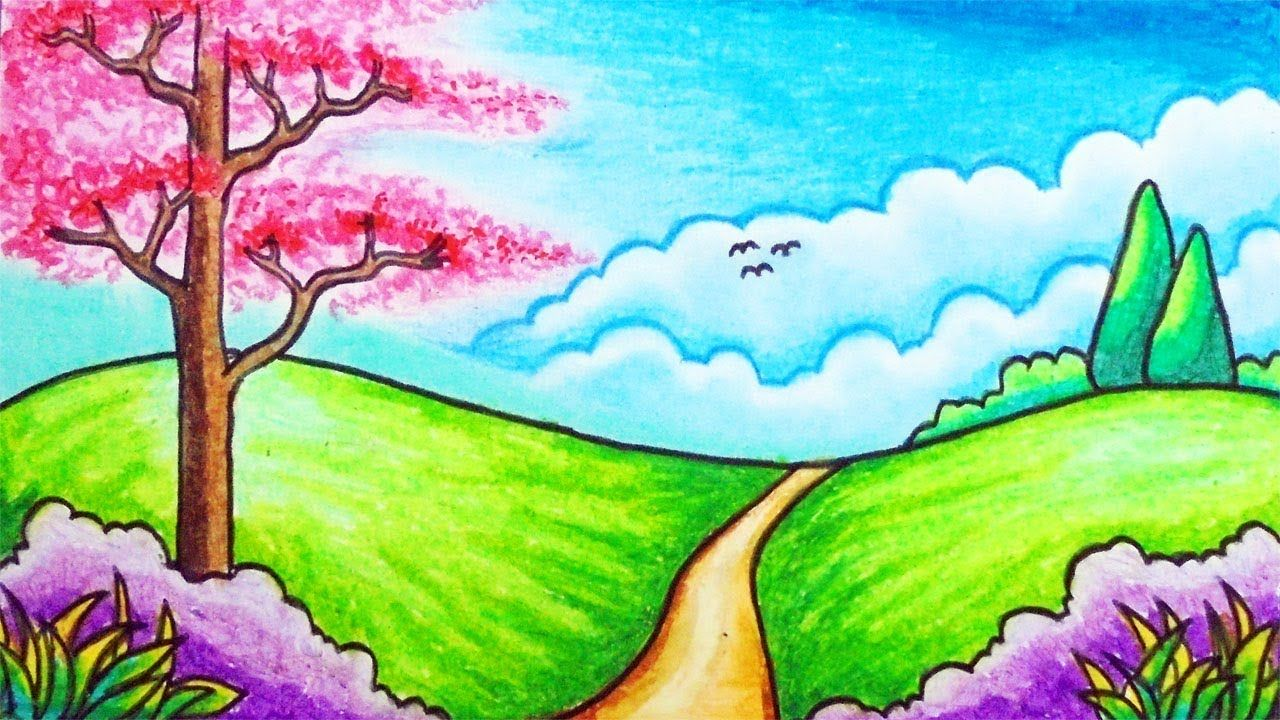 How To Draw Easy Scenery For Kids Drawing Simple Park Scenery
