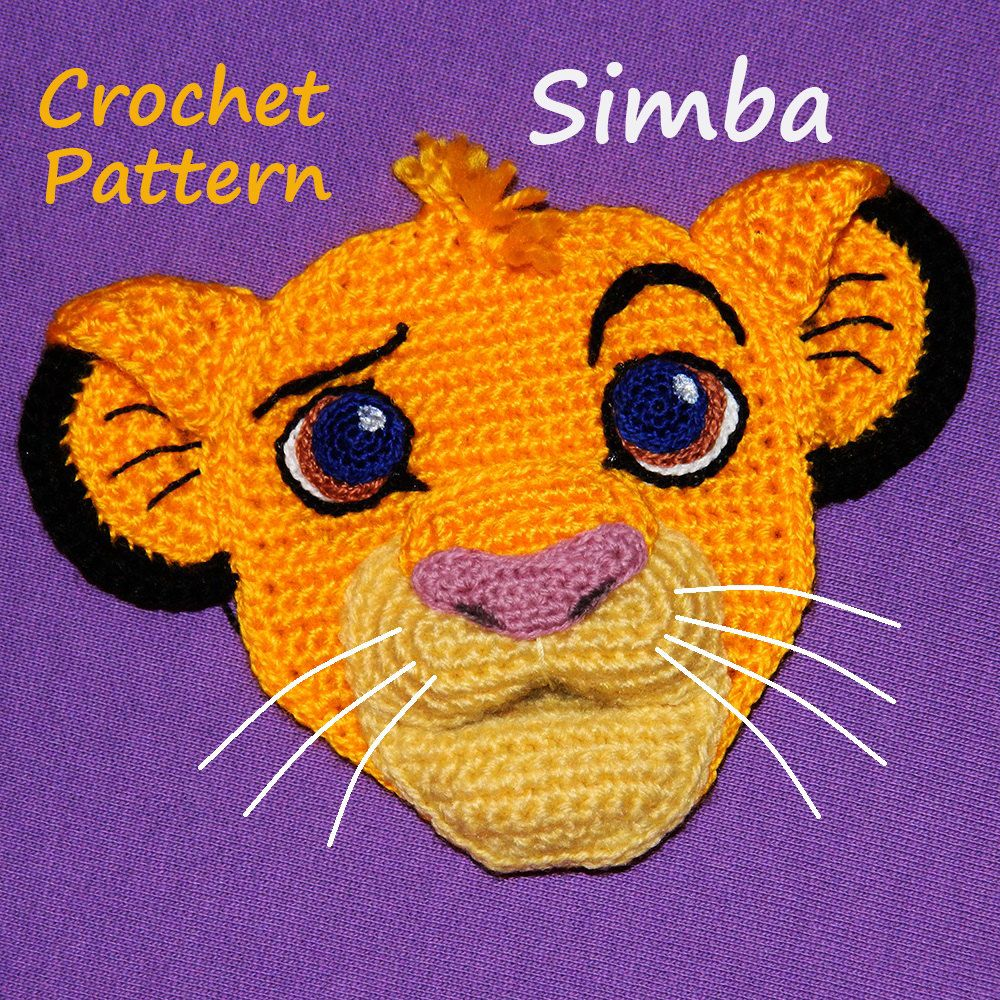 1a01fb5c0f3 Crochet Pattern. Applique. Simba (The Lion King) by InspiredCrochetToys on  Etsy