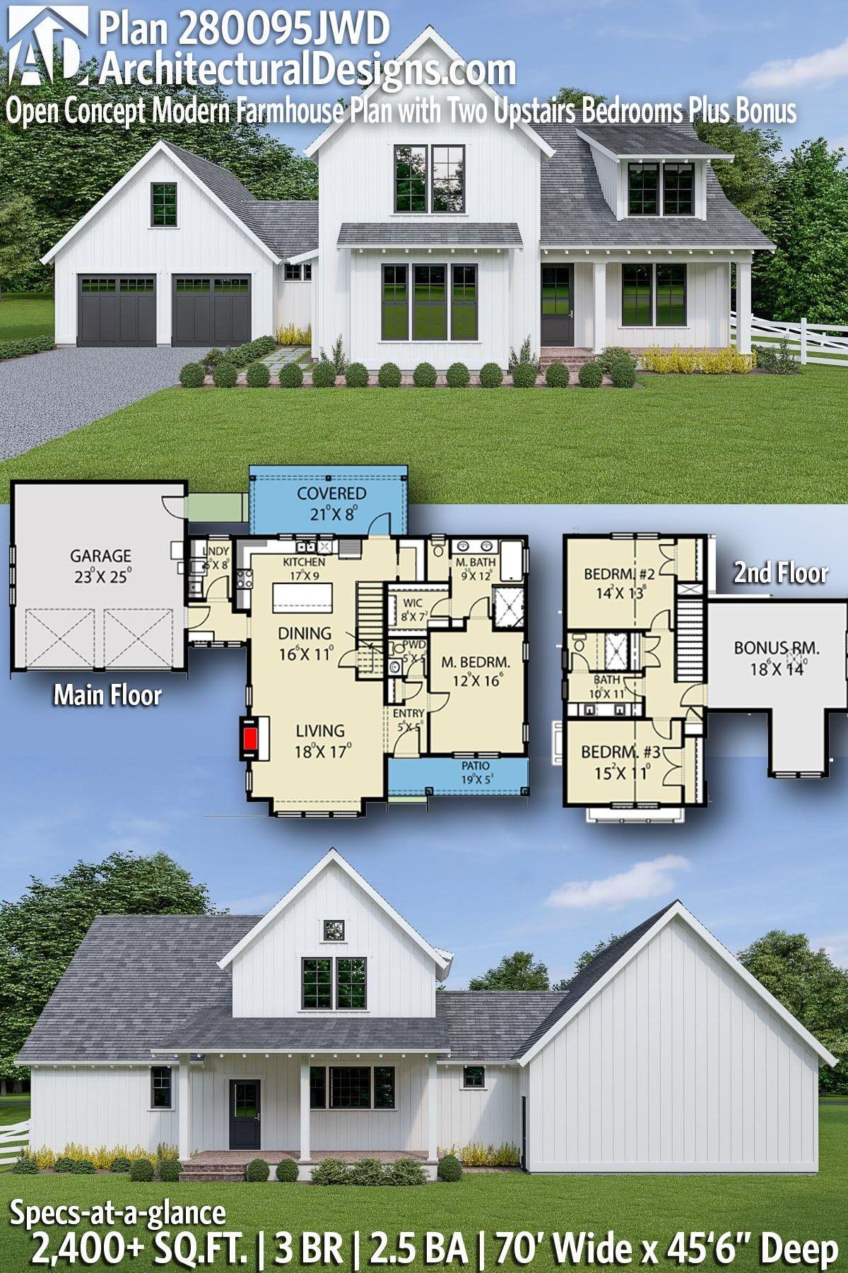 Plan 280095jwd Open Concept Modern Farmhouse Plan With Two Upstairs Bedrooms Plus Bonus Farmhouse Plans Modern Farmhouse Plans House Plans Farmhouse