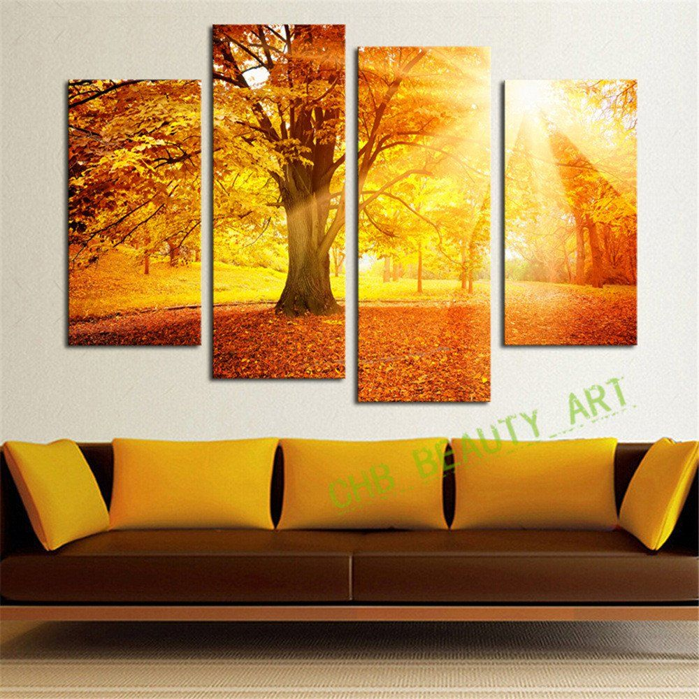 4 Panel Modern Abstract Sunshine Golden Forest Wall Art Picrue Print ...
