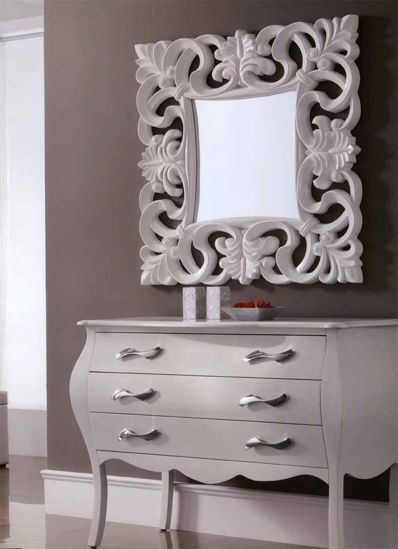 Espejos clasicos modelo sartre blanco decoraci n beltr n for Espejos decorativos blancos