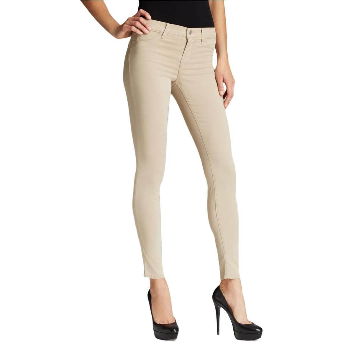 J Brand Womens Luxe Sateen Mid-Rise Skinny Pants