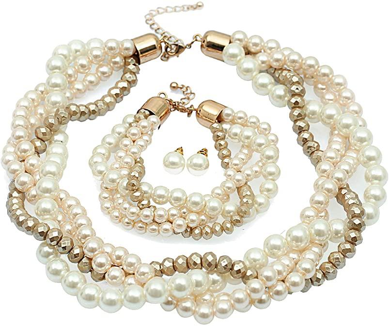 Amazon Com S Susann Pearl Necklace Set Fake Pearl Necklaces Pearl Earrings Pearl Bracelet Cluster Bead Choker Necklace Set Pearl Necklace Set Necklace Stores