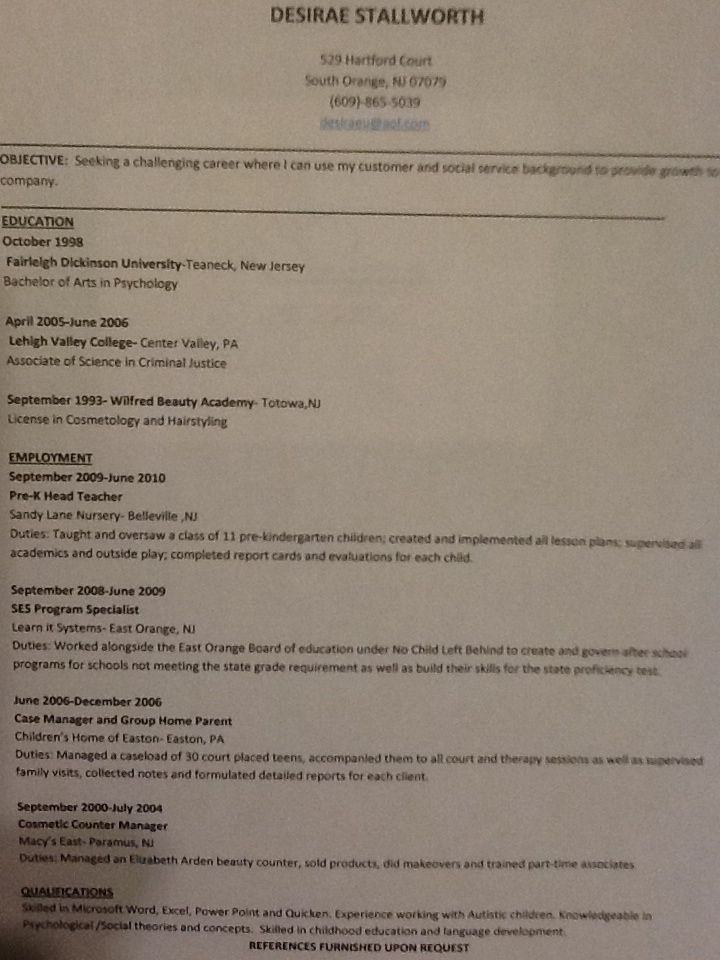 Job search resume social services and early childhood education - resume valley