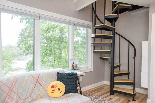 Best The Second Bedroom Loft Spiral Stair Tiny House Stairs 640 x 480