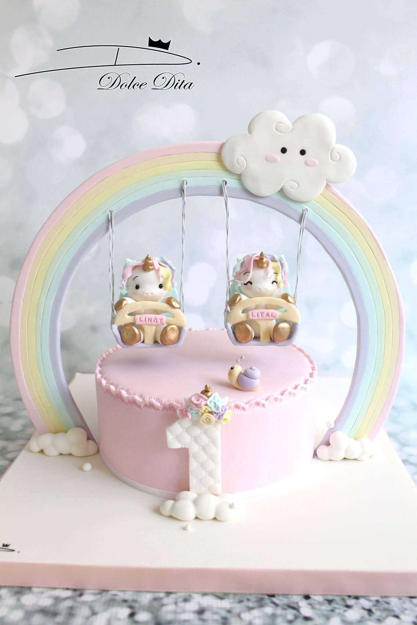 Amazing Unicorn Cake Twin Birthday Cakes Unicorn Birthday Cake Baby Funny Birthday Cards Online Elaedamsfinfo