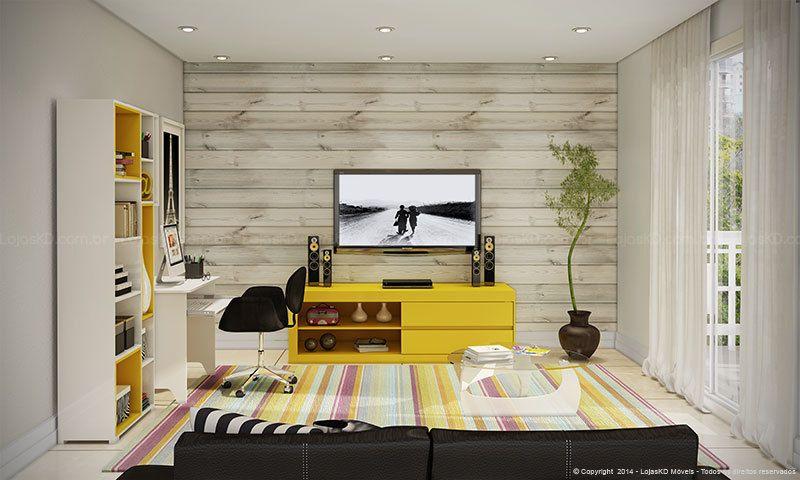 Sala De Estar Com Detalhes Amarelo ~ Conjunto para Sala de Estar com Rack, Estante, Mesa para Computador e