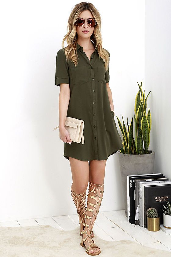 Your outfit is on point, thanks to the Oxford Comma Olive Green Shirt  Dress! Woven shirt dress with a collared neckline, short sleeves, patch  pockets,