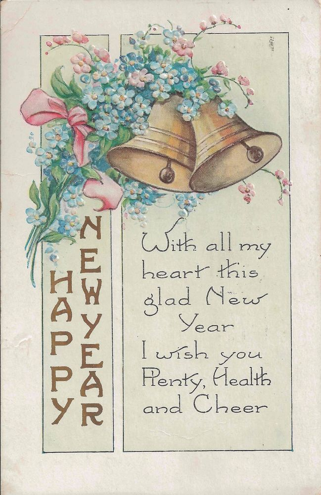1924 Antique Happy New Year Postcard With Golden Bells and Sweet Pea ...