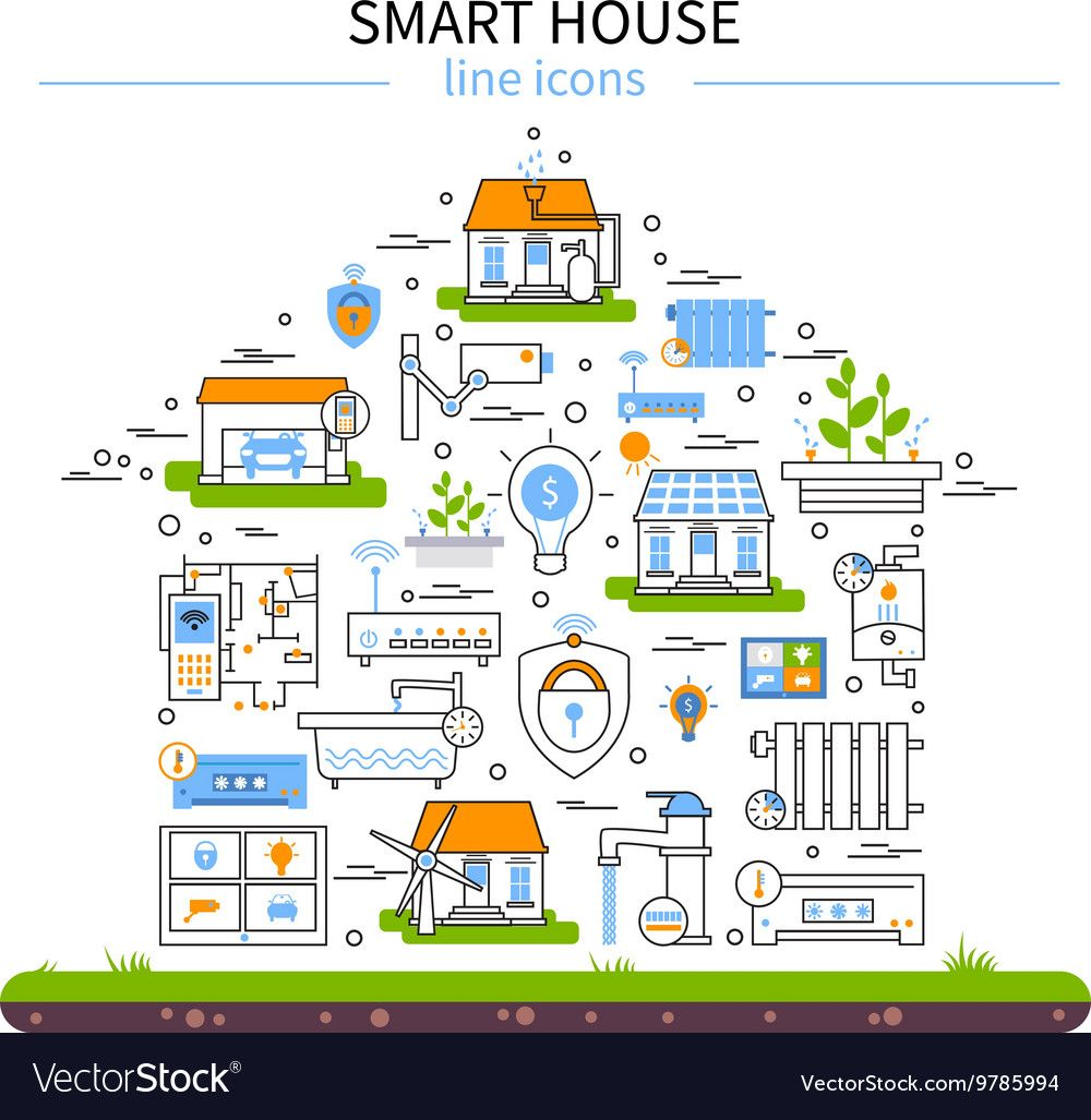 Smart house flat colored icon set in linear style and