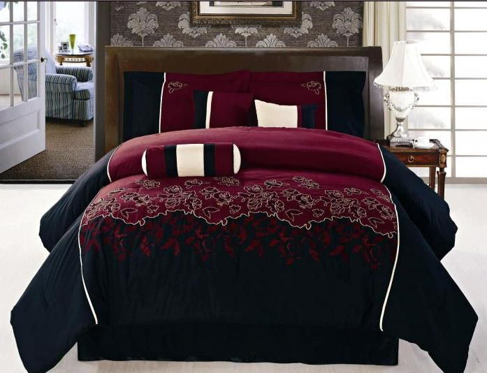 Burgundy And Black Velvet Comforter Bed Set Click On Any