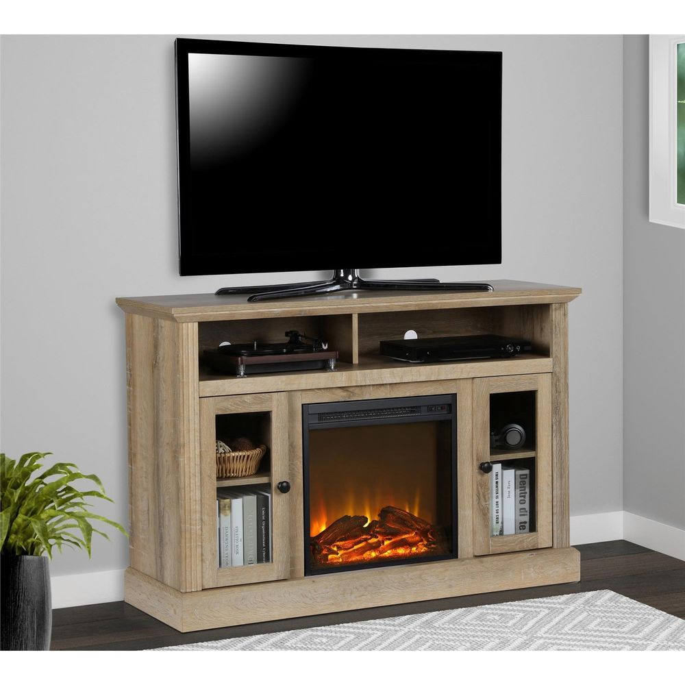 Electric Tv Console Fireplace 50 Media Table Fake Flame Storage Shelf Cabinet Ameriwood Contemporary