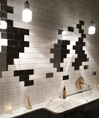 hinoki & the bird design: quilted denim, mirrored subway tile
