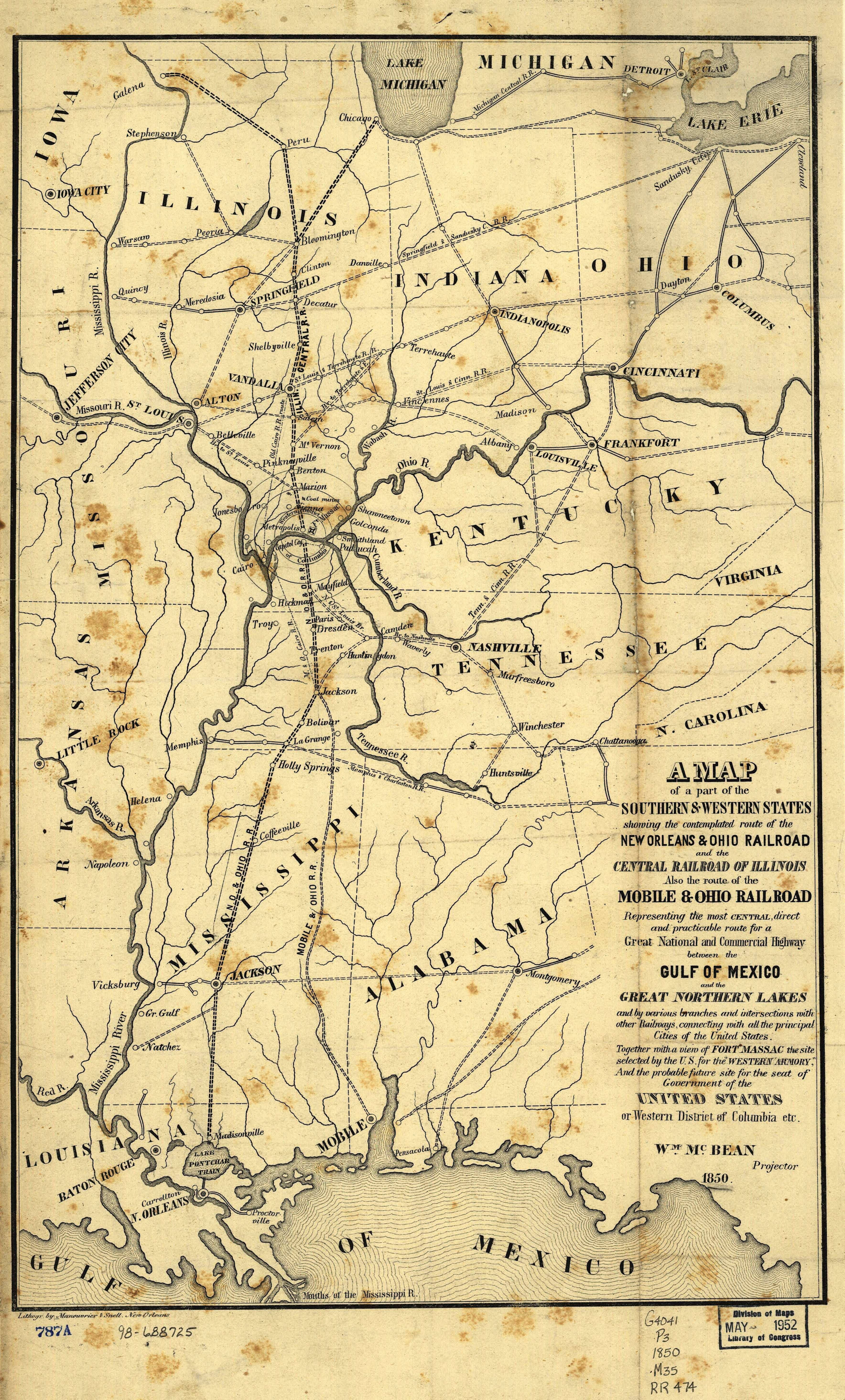Illinois Central Railroad Map  Train Travel In The S - Us railroad map 1860