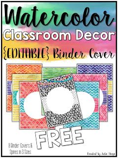 free editable binder covers and other watercolor classroom decor