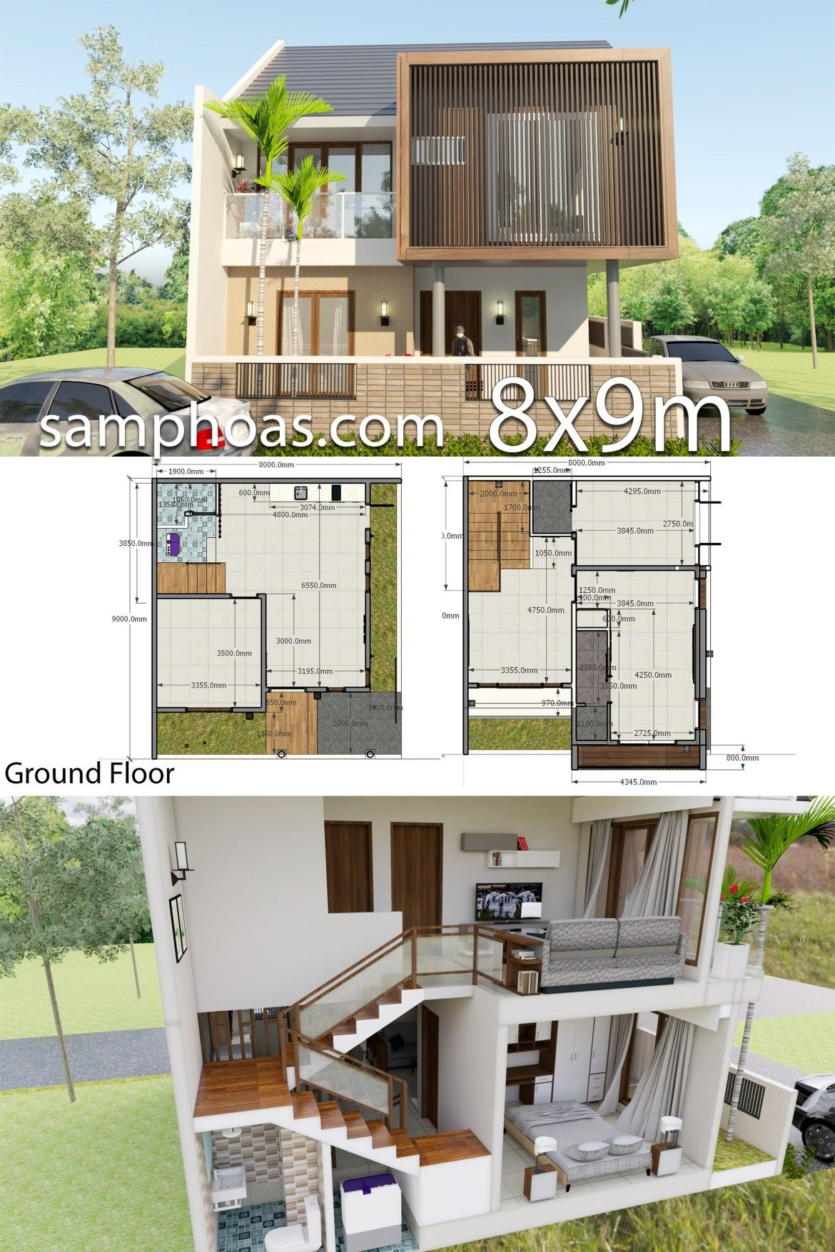 Interior Design Plan 8x9m With 3 Bedrooms Samphoas Plansearch Interior Design Plan Modern House Plans House Plans