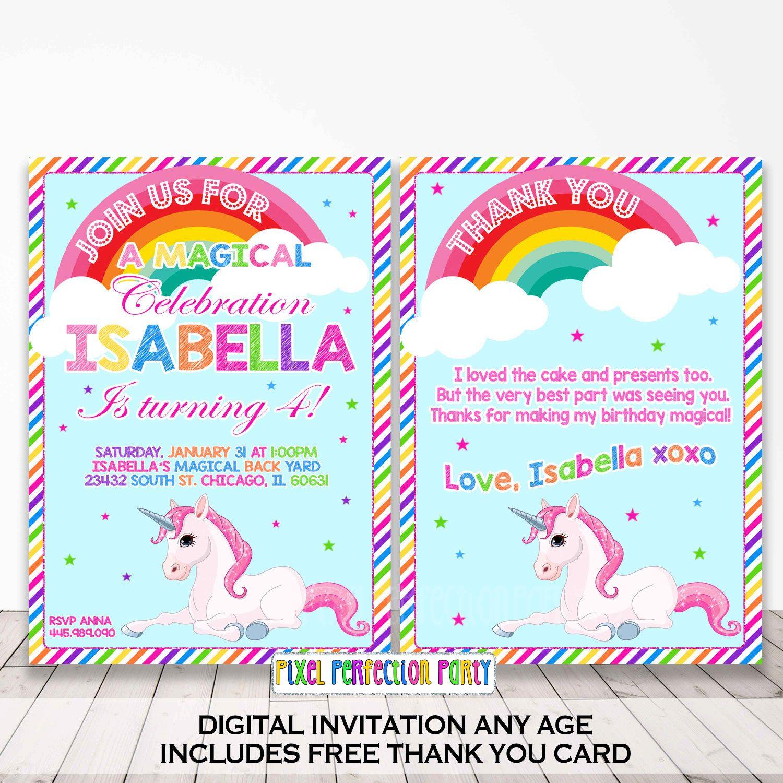 Rainbow Unicorn Birthday Invitation Magical Unicorn Invitation