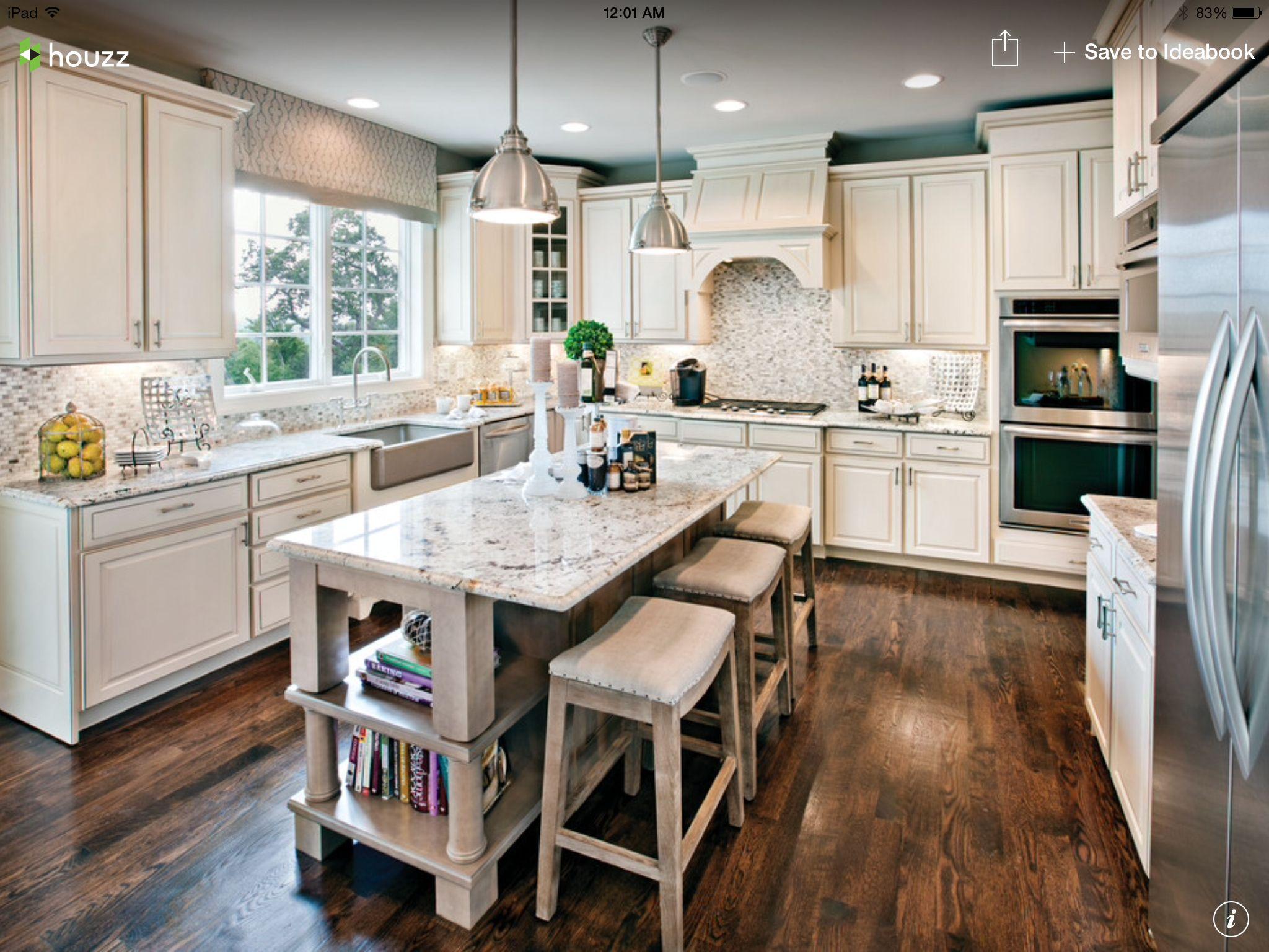 Wide Plank Hardwood Floors White Cabinets Light Granite Countertops Houzz Mutfak