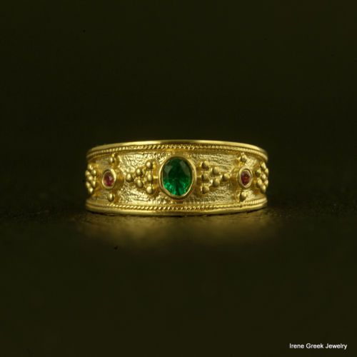 Fashion Silver and 14k Gold Ruby Cut Emerald Art Deco-Style Ring size 6-10