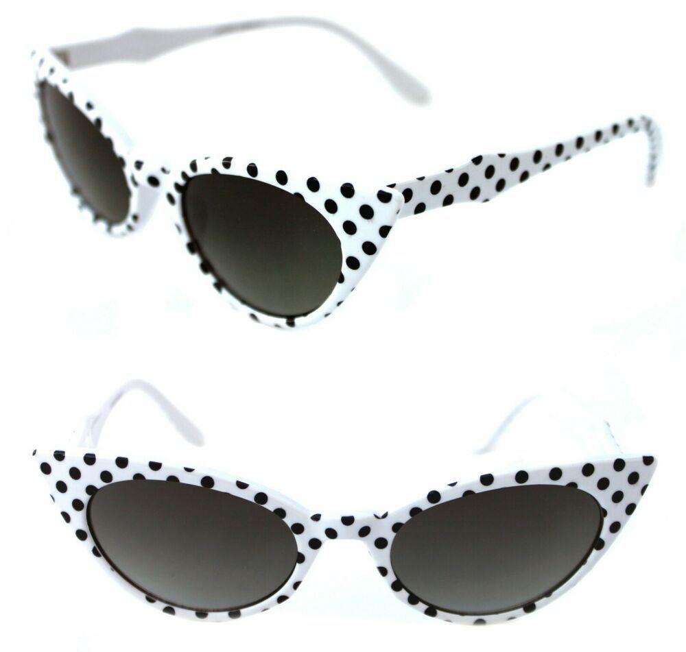 Women's Cat Eye Vintage Sunglasses Retro Small White Frame