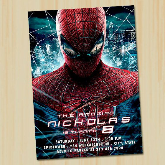 Pin By Michelle Sakowicz On Birthday Party Ideas Spiderman Invitation Spiderman Party Amazing Spiderman