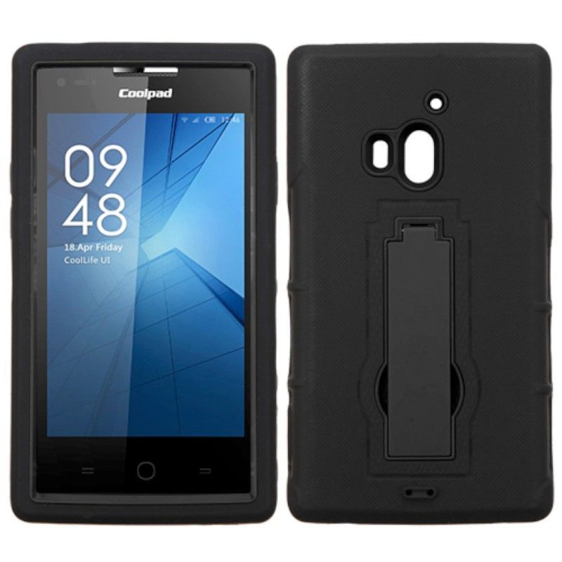 Insten Symbiosis Soft Silicone/ PC Dual Layer Hybrid Rubber Case Cover with Stand For Coolpad Rogue #2205120