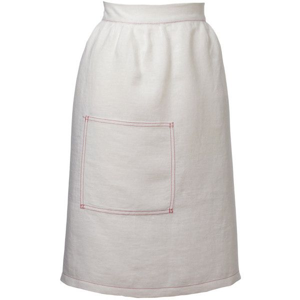 Sophie Conran Linen White Half Apron Pleated found on Polyvore featuring home, kitchen & dining, aprons, white, linen apron, white half apron, sophie conran, pocket apron and white apron