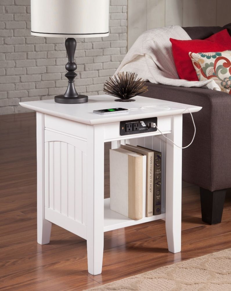 Nantucket Cottage Style End Table With 110 Volt Outlet And Usb Port White Atlantic
