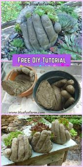 Photo of DIY Concrete Hand Garden Planter Tutorials DIY Hand Cupped Concrete Garden Plan …