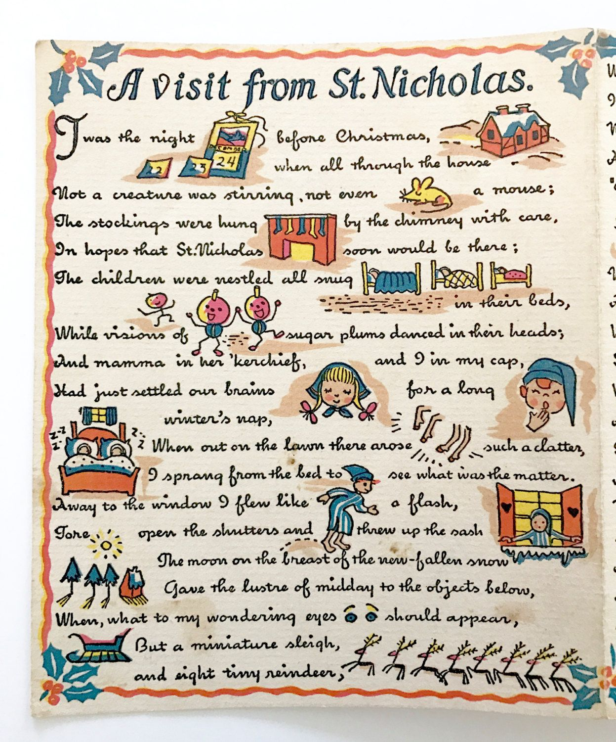 Vintage christmas greeting card a visit from st nicholas rebus poem vintage christmas greeting card a visit from st nicholas rebus poem 1949 by neatokeen on kristyandbryce Choice Image