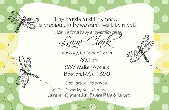 Dragonfly Baby Shower Invitation By Myaclairedesign On Etsy
