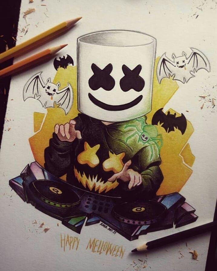 #KEEP_IT_MELLO @marshmellomusic #marshmellomusic #marshmello #mellogang #mello #marshmallow #marshmellofamily #dj #music #love #art #drawing #happier #halloween