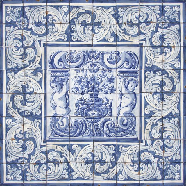 Portuguese traditional clay tiles azulejos mural panel - Mural de azulejos ...