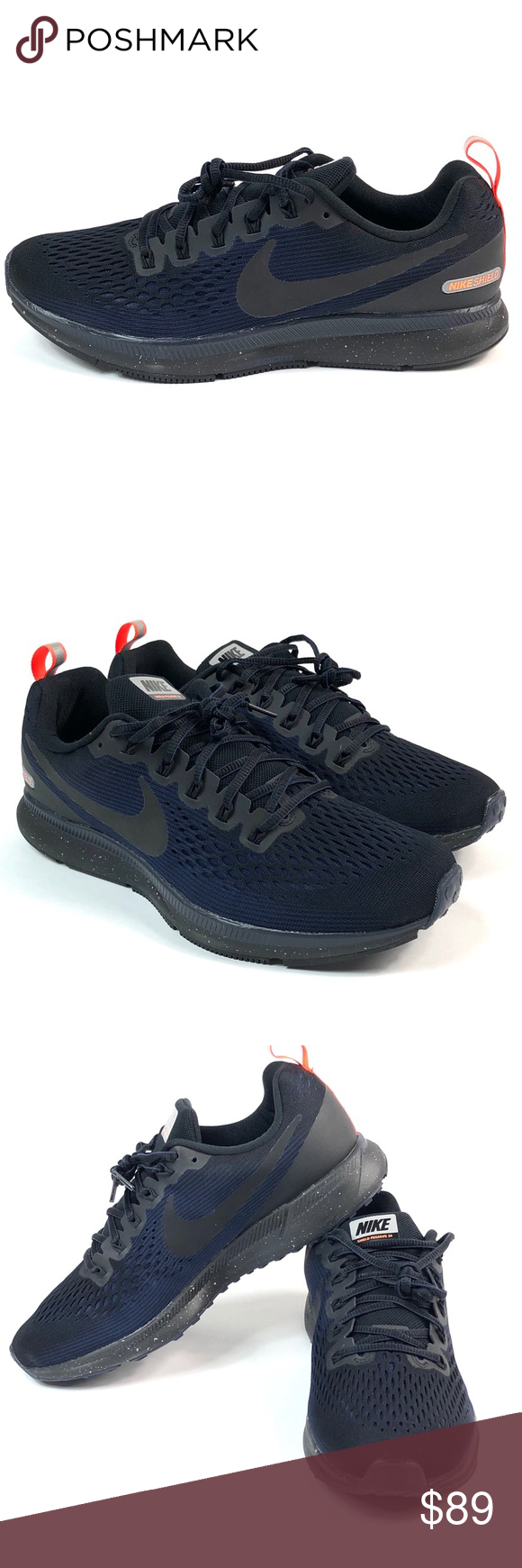869ac6c17f8 Nike Zoom Air Pegasus 34 Shields Size 11 Mens New Nike Air Zoom Pegasus 34  Shield Size 11 907327-001 Running Shoes Black Obsidian New with box MSRP   135 ...