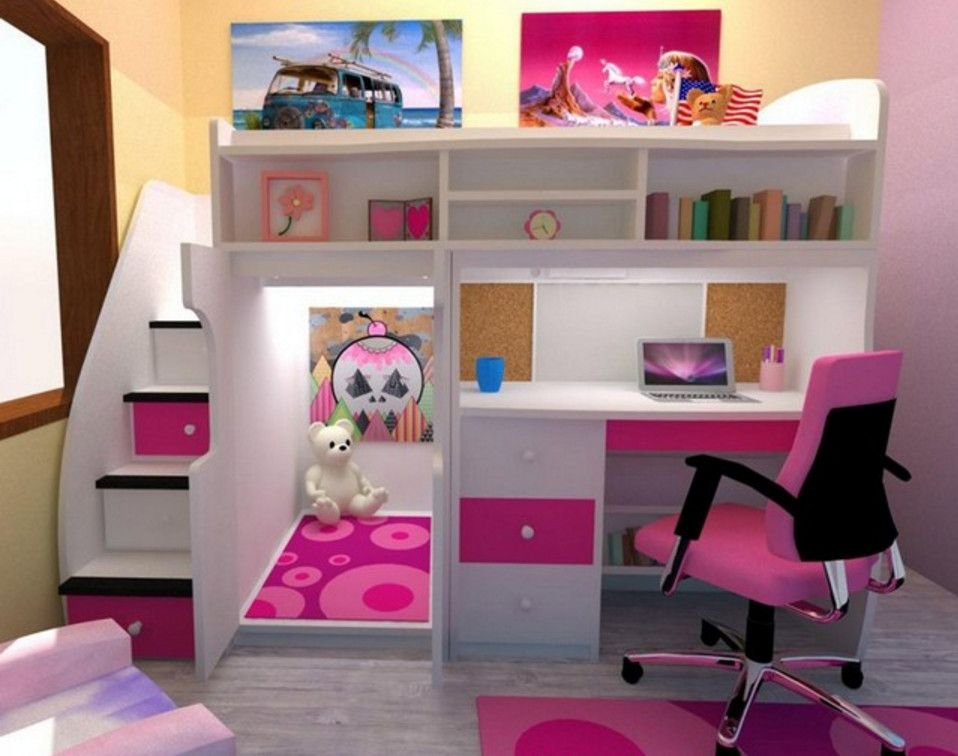 Loft Bed With Desk The Brick Bed For Girls Room Girls Loft Bed