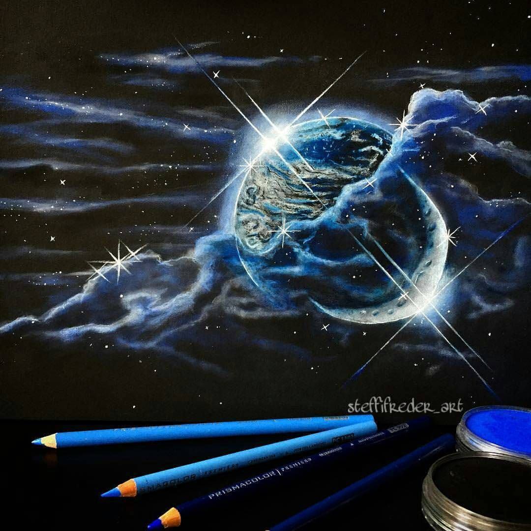 """: """"Check out this colored pencil and pan pastels on black paper drawing by @steffifreder_art on instagram. soo cool"""
