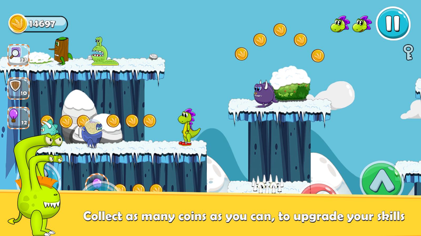 Bubble's era , snow levels Platform game, Floating balloons