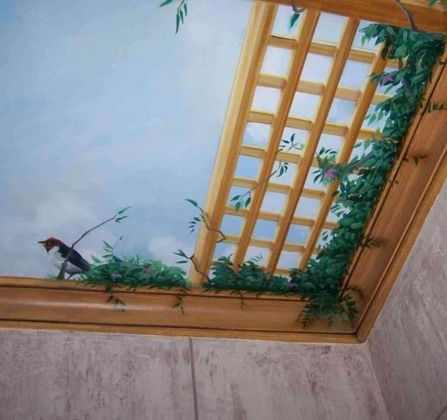 Detalle Techos pintados Pinterest Techos pintados, Murales y 3d - como decorar un techo de lamina