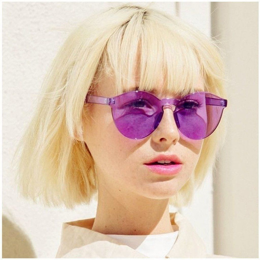 faf1b4cd69 Women s Fashion UV400 Sunglasses Luxury Eyewear Sun Shades Integrated PC  Colorful Sun Glasses