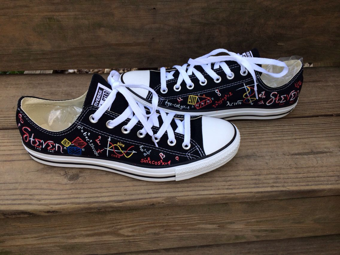 7ae1741b7ea0 Actuary Converse Mathematical Equations Math Actuarial Science Hand Painted  Shoes by IntellexualDesign on Etsy https