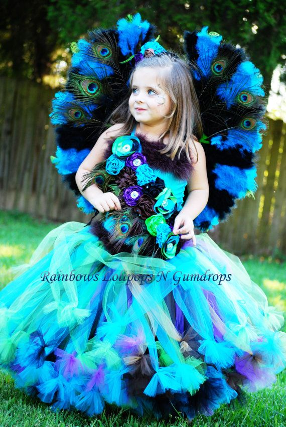 Peacock inspired floor length corset and petti tutu set for pageant - 18 month halloween costume ideas