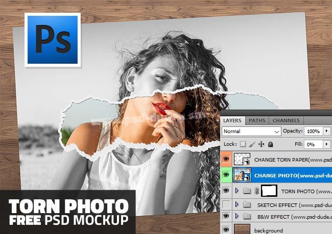 Free Ripped Torn Photo Paper PSD Mockup (5.74 MB) | PSDDude | #free ...