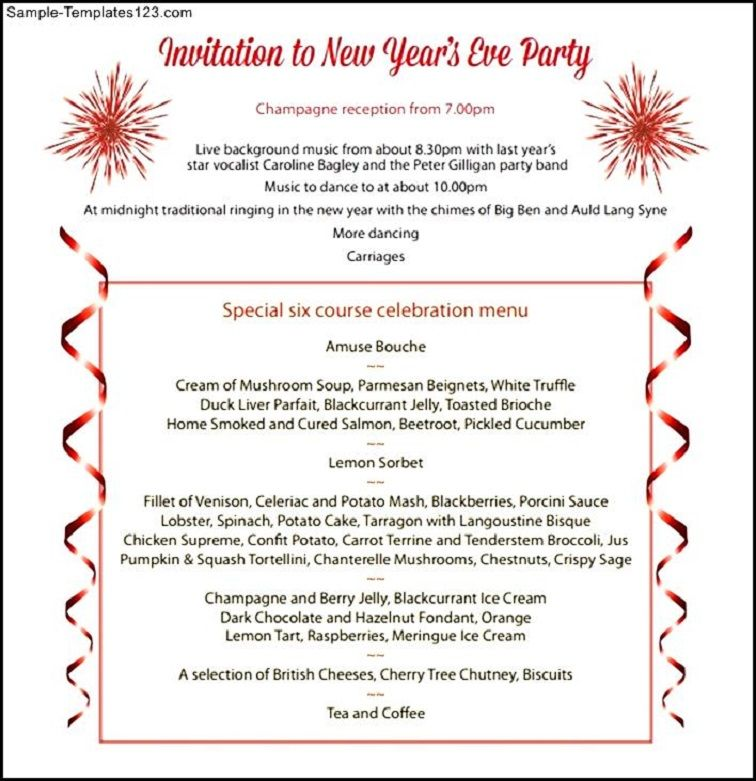 New Year Celebration Party Invitation Letter