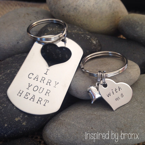 personalized couples keychains his hers jewelry hand engraved