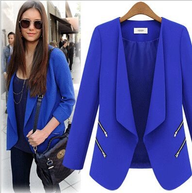 2015-European-Style-Spring-Royal-Blue-Womens-Blazer-Feminino-Long ...