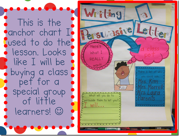 Persuasive Writing (Kinder - freebie, comes with anchor chart and student version) - Amazing