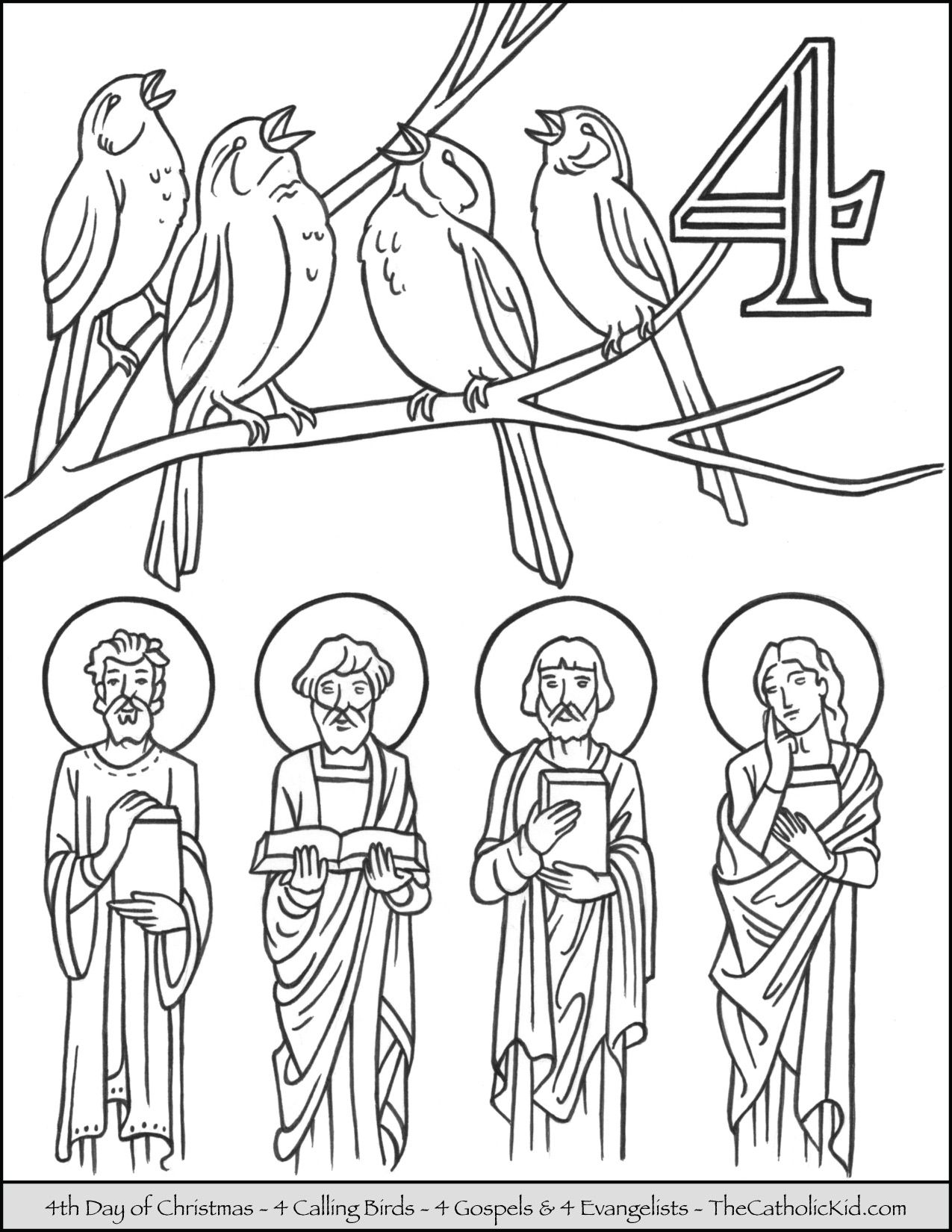 Fourth Day of Christmas Four Calling Birds Coloring Page ...