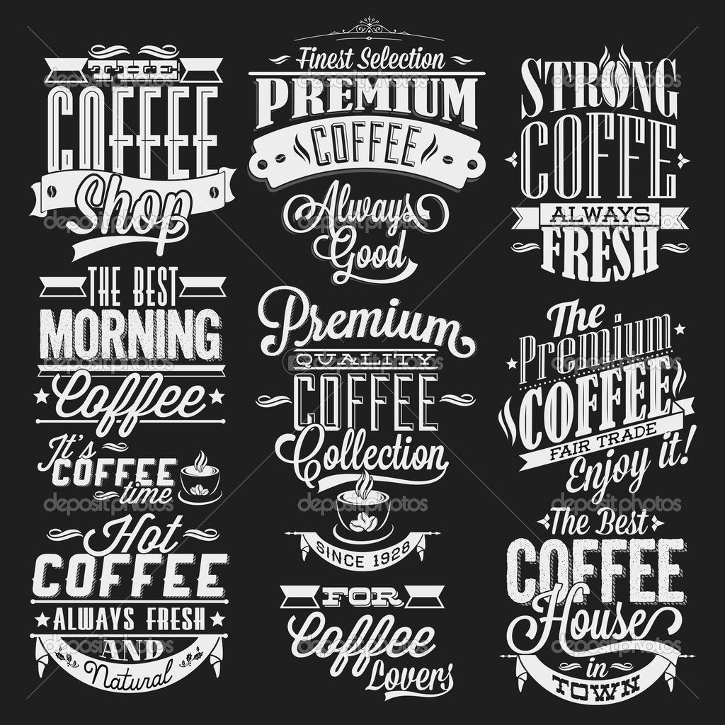 Selection Of Typographic Coffee House Designs A Nice Use Of Vintage Typography Styles With A Mixture Of Type And Shape De Papan Tulis Kapur Tipografi Tulisan