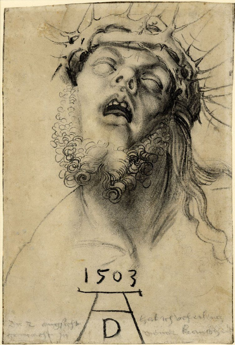 Head of the dead Christ; turned to front, the head tilted back, wearing a crown of thorns, and with beard. 1503 Charcoal