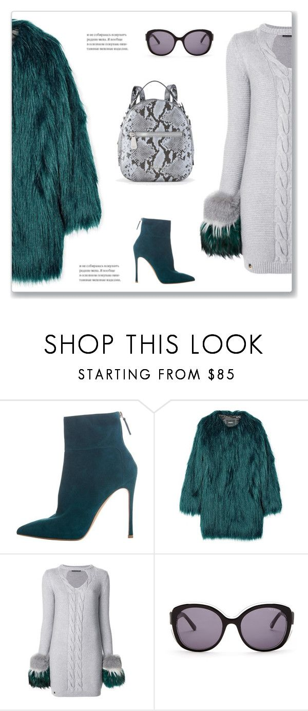"""Sweater Dress"" by mmmartha ❤ liked on Polyvore featuring Gianvito Rossi, Unreal Fur, Philipp Plein, Ted Baker and Emporio Armani"